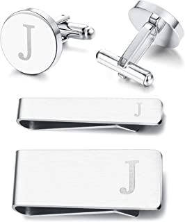 Subiceto Firm Men's Cufflinks Tie Bar Money Clip Set 4 Pcs Engraved Alphabet A-Z Wedding Party Business Gifts