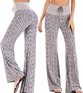 CROSS1946 Fashion Women's Striped High Waist Yoga Drawstring Pants Straight-Leg Workout Trousers Loose Fit XL