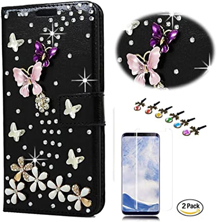STENES LG K20 Case - Stylish - 3D Handmade Crystal S-Link Butterfly Floral Wallet Credit Card Slots Fold Media Stand Leather Cover for LG K20 V/LG Harmony with Screen Protector - Black