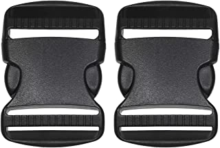 Penta Angel 2Pcs 50mm/2 inch Black Plastic Buckle Clips Heavy Duty Dual Adjustable Buckles Craft Webbing Quick Side Release Buckles for Luggage Straps Pet Collar Backpack Repairing(50mm-2Pcs)