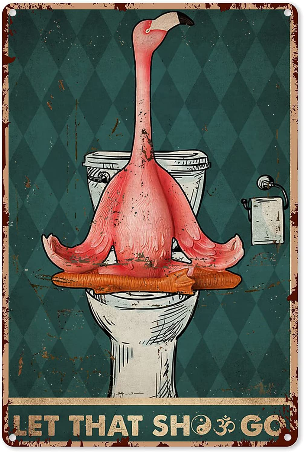 Pink Flamingo Tin Sign Yoga Let That Shit Go Flamingo Metal Sign Decor Tin Aluminum Sign Wall Art Metal Poster for Home Party Bathroom Outdoor 12x8 inch