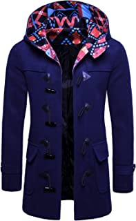 XINHEO Men's Hood Jackets Winter Buckles Long Sleeve Trench Coat Outwear