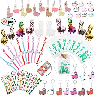 Llama Party Favors Supplies - Llama Bracelet Ring Necklace Keychains Hair Clips Puffy Sticker Gift Bag Alpaca Toys Gift for Kids Birthday School Prizes Rewards(60 pcs)