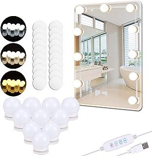 PEYOU Luces de Espejo Maquillaje 5.5m Kit LED Luz de Tocador con 10 Bombillas Regulables y 20 pcs Pegatinas Carga USB 3...