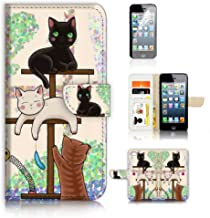 ( For iPhone 5 5S / iPhone SE ) Flip Wallet Case Cover and Screen Protector Bundle A1944 Cat