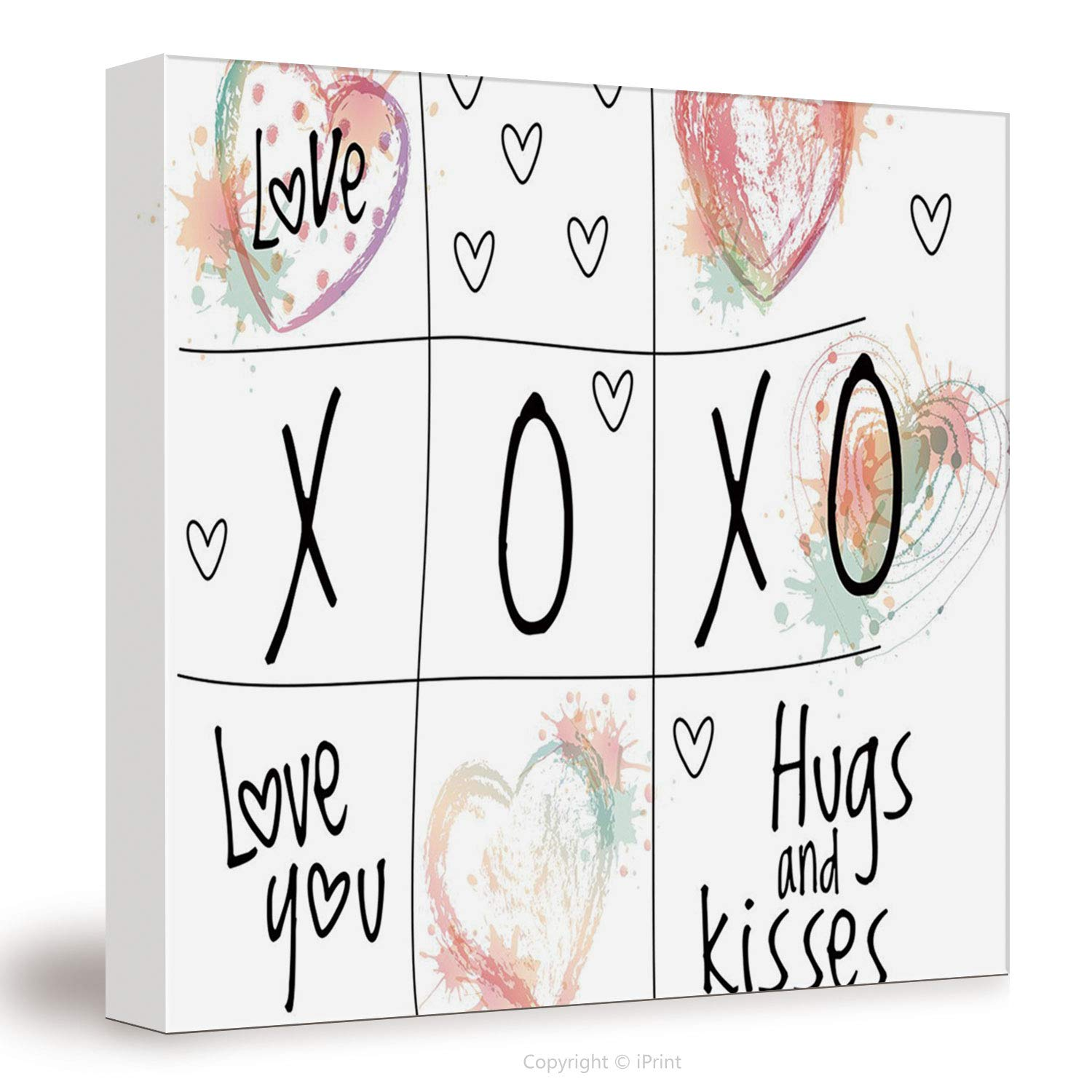 07692 Canvas Art Wall Decor Xo Decor Love You Hugs Kisses Watercolor Splashes Heart Icon Valentines Artwork Decorative Coral Mint Black White Wall Art Paintings On Canvas Stretched And Framed Read Buy Online In Montenegro At