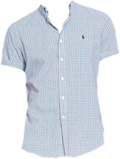 Polo Ralph Lauren Mens Big and Tall Short Sleeve Checkered Shirt, (Club Royal Blue, 4LT)
