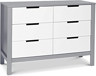 Carter's by Davinci Colby 6 Drawer Dresser, Gray and White