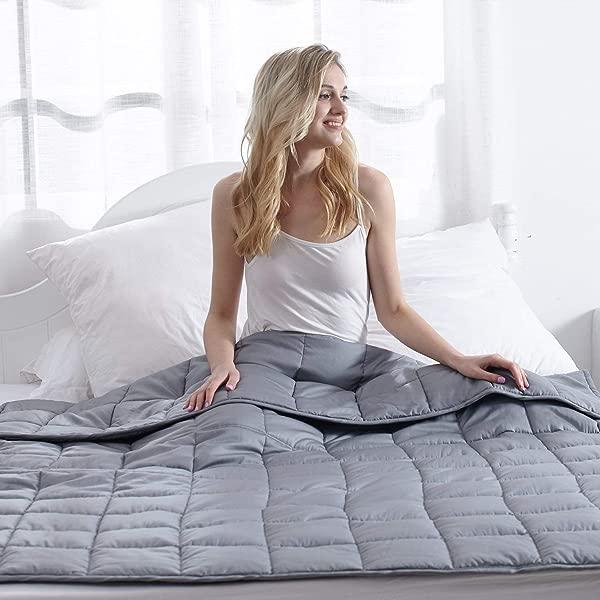 Waowoo 成人加重毯子大号 15 磅 60X80 重毯子与高级玻璃珠深灰色