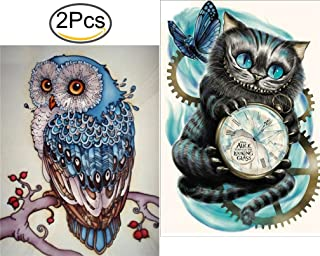 5D DIY Diamond Painting Partial Drill Arts Craft for Home Wall Decor Gift 2Pieces (Owl + Cat)