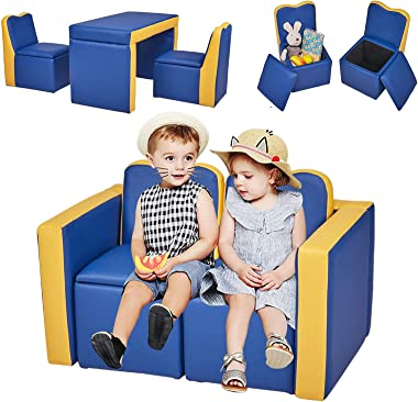Kinfant Kids Sofa Couch Furniture - 2 in 1 Double Sofa Convert to Table and Two Chairs, Toddler Lounge with Wooden Frame and