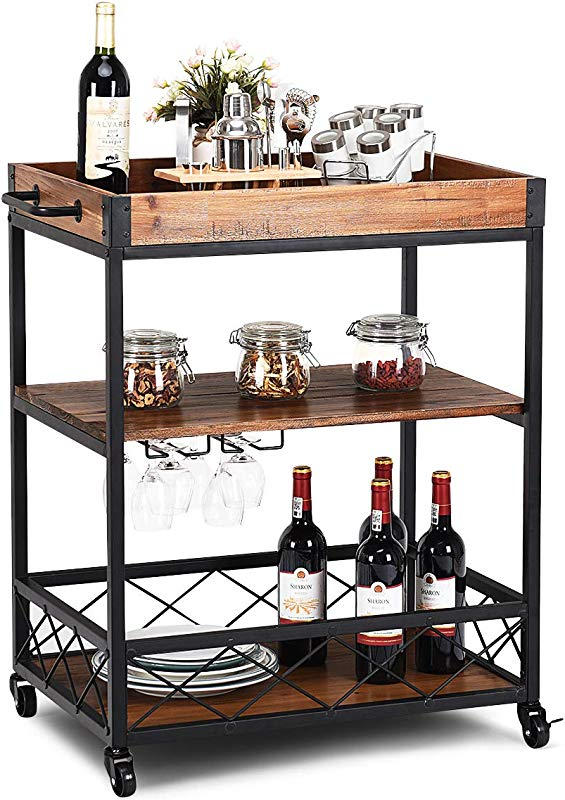 Giantex Kitchen Trolley Cart Island Rolling Serving Carts Utility Cart 3 Tier Storage Shelf With Glass Holder Handle Racks Lockable Caster Kitchen Carts Islands W Removable Wood Box Container