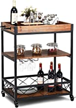Giantex Kitchen Trolley Cart Island Rolling Serving Carts Utility Cart 3 Tier Storage Shelf with Glass Holder, Handle Rack...