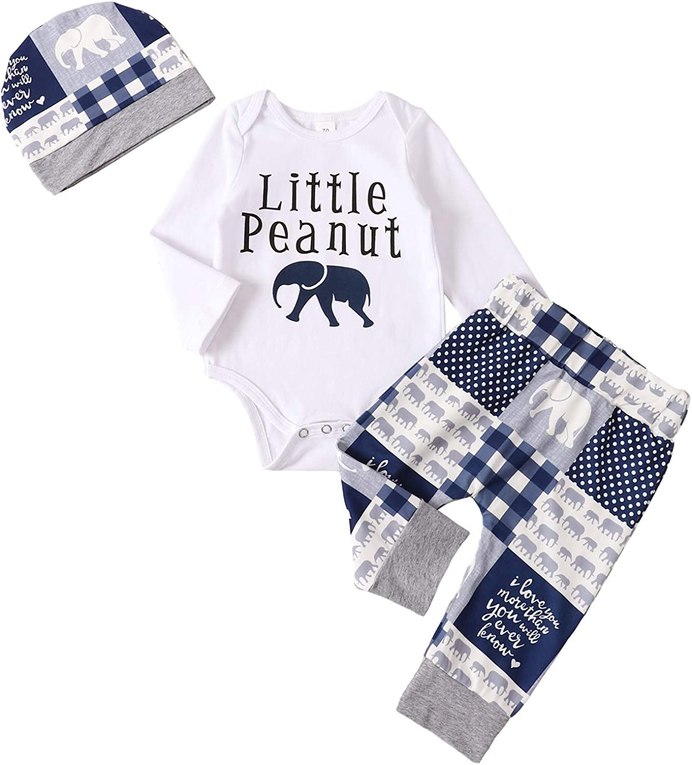 Baby Boy Clothes Newborn Outfits Boys Long Sleeve Romper Top + Print Pants + Hat Clothing Set