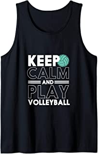 Keep Calm and Play Volleyball Funny Sports Team Tank Top