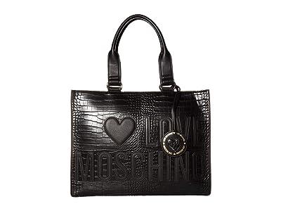 LOVE Moschino Crocco Tote Bag (Black) Handbags