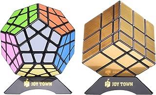 JoyTown Bundle Pack Speed Cube Set of 2 Megaminx Speedcubing, Gold Mirror Cube Twisty Puzzle, with Bonus Stands and Screwdriver Black