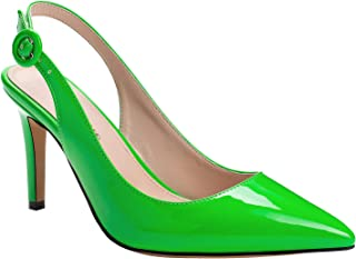 Rhinestones Patent Leather Slingback Party Evening Stiletto Med Heel Women Shoes