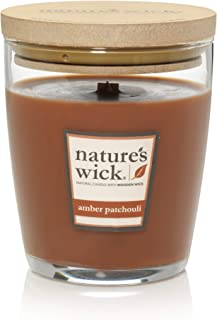 Nature's Wick Amber Patchouli Scented Candle|10 oz. Jarred Candle|Natural Wood Wick Candle with up to 65 Hour Burn Time