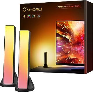 Onforu 2X 6W Lampe d'Ambiance LED Connecté WiFi Intelligente, Compatible avec Alexa Google Home Smart Life, Lumière Ambian...
