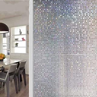 DIY Home Decoration Glass stickers Window Film,Privacy decorative window films 3D mosaic PVC static cling stained Frosted vinyl glass sticker Self-Adhesive film on the window ( 17.7 x 78.7 Inch )
