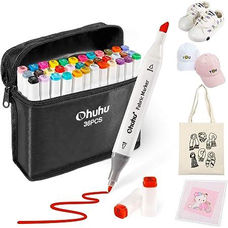 Marcadores textiles, Ohuhu de 36 colores Marcadores de doble punta punta para de bricolaje para disfraces de Navidad, camisetas, prendas de vestir, zapatos, bolsos, Rotuladores de tela