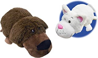 FlipaZoo The 16 Inch Pillow with 2 Sides of Fun for Everyone - Each Huggable FlipaZoo character is Two Wonderful Collectibles in One (Chocolate Lab/White Cat)