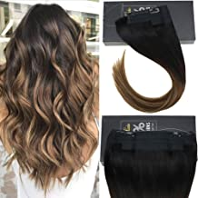 Sunny 16inch 80g Balayage Secret Halo Hair Extensions One Piece Straight Human Hair Natural Black Fading to Dark Brown with Caramel Blonde Remy Wire Hair Extensions