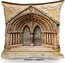 AngelDOU Square Cotton Linen Pillow Cushion,Medieval Middle Age Cathedral Door Exit with Gothic Ornate Features Great Britain UK Theme,Living Room Sofa car Bed Back Cushion pillowcas13.7x13.7 inches