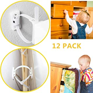 Furniture Straps, serene freestyle 12 Pack Furniture Anchors for Baby Proofing, Cabinet Locks Child Safety Latches, Baby Proofing Cabinets Drawer Lock with Easy Installation,Bearing 150Ib