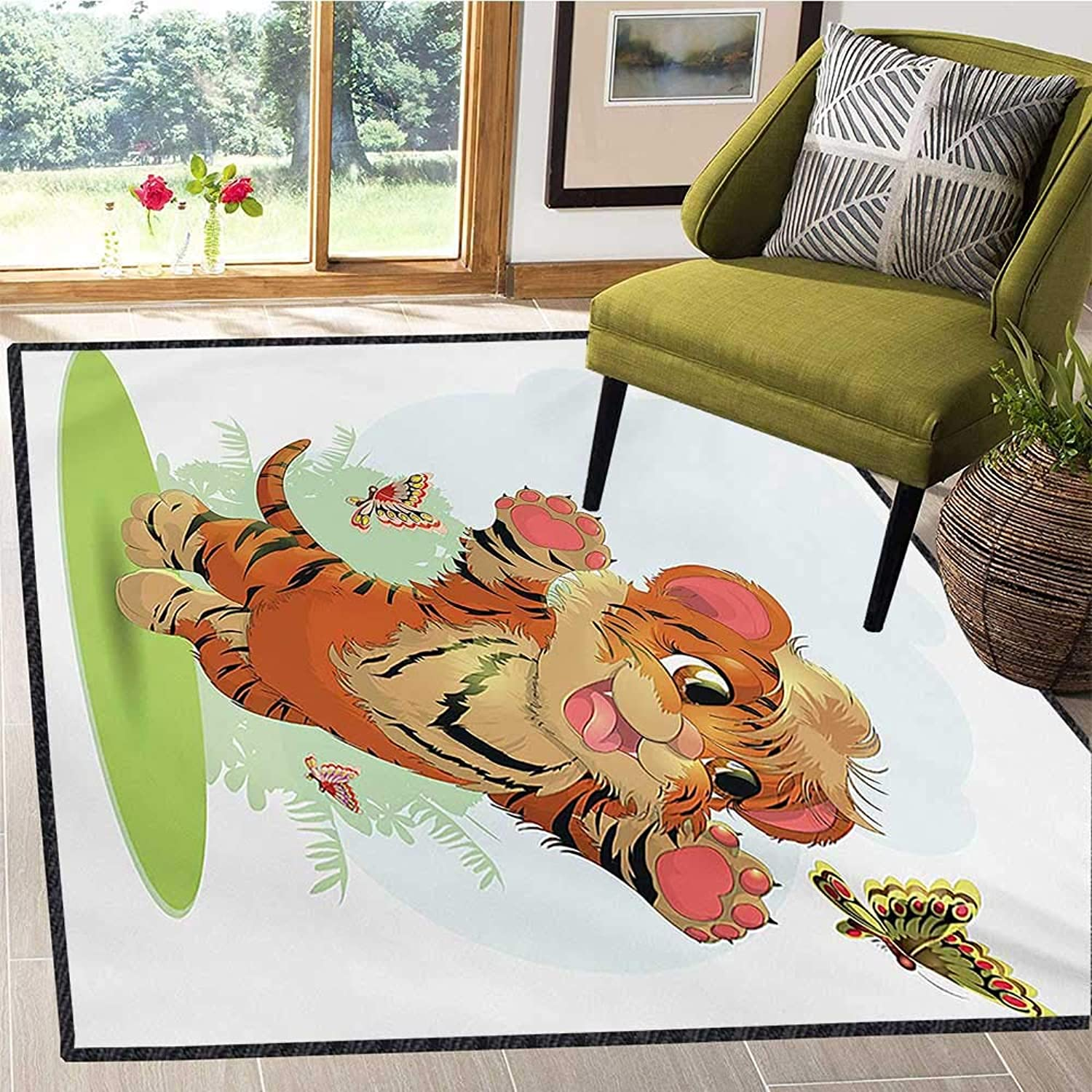Cartoon, Area Rug Slip Pad, Cub Playing with Butterflies in The Meadow Joyful Lively Baby Tiger Cat, Door Mats for Inside Non Slip Backing 5x8 Ft orange Cream Green