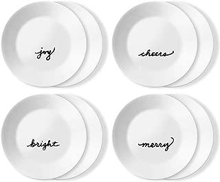 Corelle Chip Resistant 8 Pack Appetizer Plates, 8-Piece, Holiday Celebrations