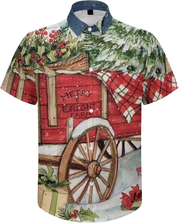 Mens Button Down Shirt Snow Casual Summer Beach Shirts Tops