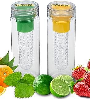 Set of 2 Nayoya Fruit Infused Infuser Water Bottles - 28 Ounce Leak Proof Tritan Plastic
