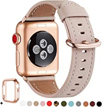 WFEAGL Compatible iWatch Band 40mm 38mm, Top Grain Leather Band with Gold Adapter(Same as Series 5/4/3 with Gold Aluminum Case in Color) for iWatch Series 5/4/3/2/1(Pink Sand Band+Rosegold Adapter)