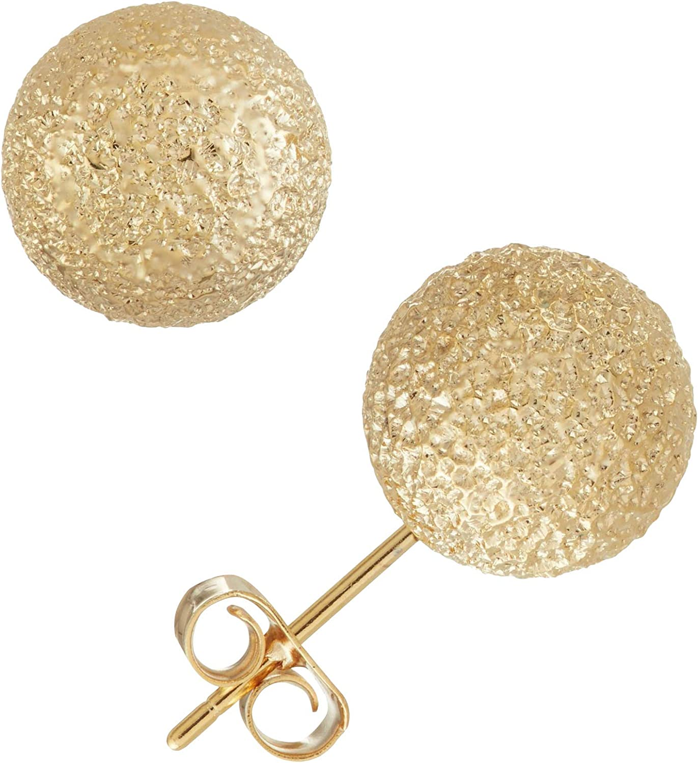 Womens Ladies Fashion Accessories Jewelry 14K Gold Plated 10mm Textured Ball Earrings