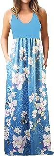 فساتين ZANDZKISS ماكسي للنساء بدون أكمام طباعة الأزهار فساتين ماكسي طويلة مع جيوب