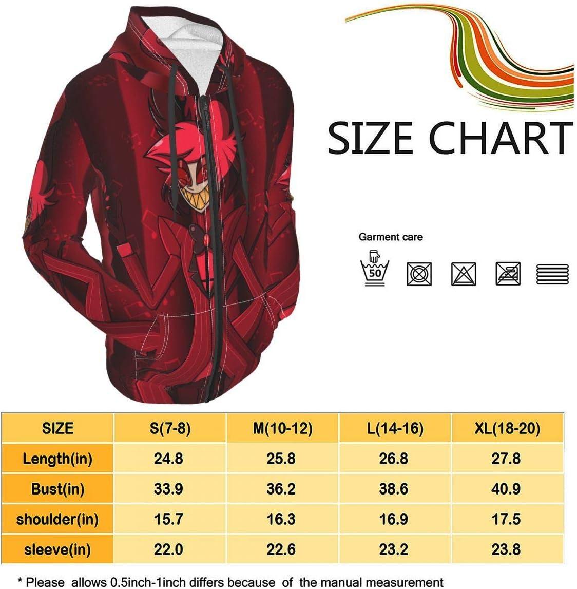Unisex Teens Top Hazbin Hotel Q Hoodies Sweatshirt Fashion Hoodie Zip Hooded for Youth Boys/Girls 14-16 Years