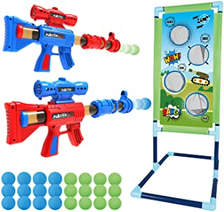 Shooting Game Toy for 5 6 7 8 9 10+ Years Olds Boys and Girls,2pk Foam Ball Popper Air Toy Guns with Standing Shooting Tar...