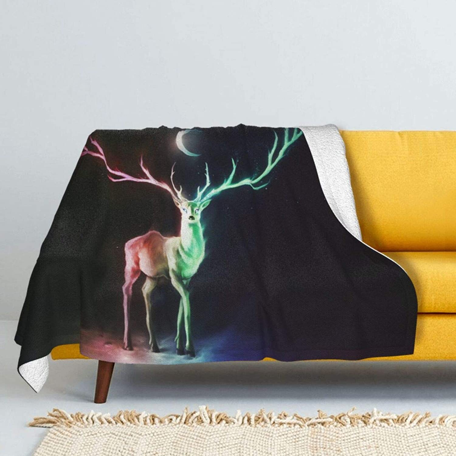 Deer Safety and trust Moon Horns Free Shipping Cheap Bargain Gift Stars Lamb Wool Soft Blanket Throw Double- Super