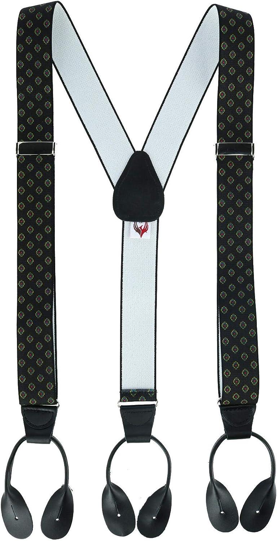 Ascentix Men's Dressy Diamond Print Button-End Suspenders
