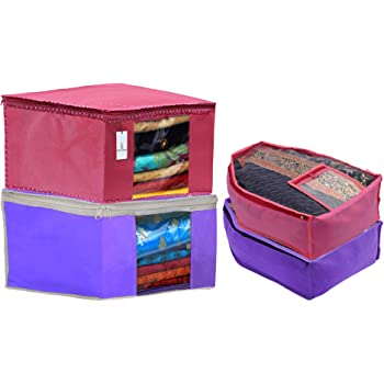 Heart Home Non Woven 2 Pieces Saree Cover/Cloth Wardrobe Organizer and 2 Pieces Blouse Cover Combo Set (Pink & Purple) HEART3183