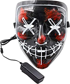 Halloween Purge Mask LED Light up Scary Glowing Mask for Festival Cosplay Halloween Costume