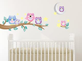Sunny Decals 139P Owl Fabric Wall Decals with Branch (Set of 6)