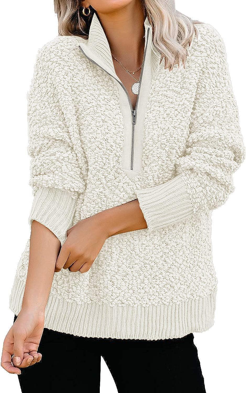 GRAPENT Womens Casual Zipper Fleece Pullover Sweater Long Sleeves Outwear Jacket