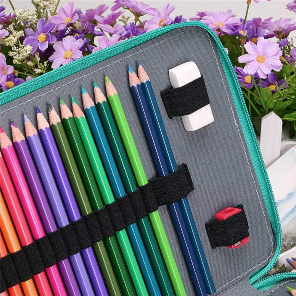 Crayons non lnclus Trousse Scolaire /Étanche et R/ésistante /à lusure 200 Fentes /Élastiques 4 Couches de Grande Capacit/é Pencil Case Sac de Rangement Crayon en Cuir PU pour Garcon Fille Femme Homme