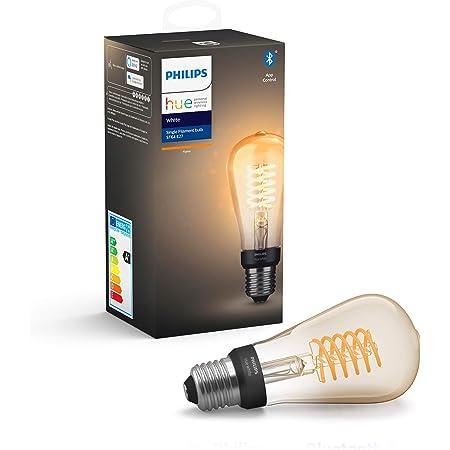 Philips Hue White Filament Single Smart LED ST64 Bulb [E27 Edison Screw] with Bluetooth, Flame White, Works with Alexa, Google Assistant, Apple HomeKit, Microsoft Cortana