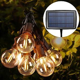 Guirnaldas Luces Exterior Solar con USB Micro, LE Guirnaldas Luminosas 25 G40 Bombillas, Base E12, 4 Modos Luz, IP65 Impermeable, Luces Decorativas Ideal para Jardín, Terraza, Patio, Exterior, Navidad