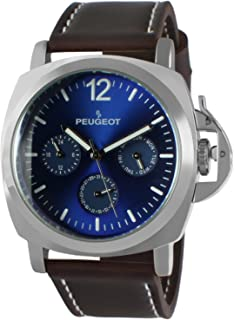 Peugeot Men's Sport Watch, Multi-Function with Crown Guard and Leather Wrist Band