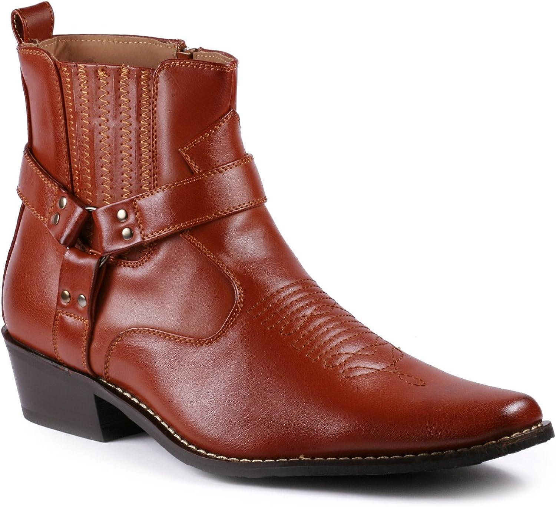 Metrocharm Diego-02 Men's Belt Strap Studded Western Cowboy Boots